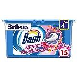 Dash Pods 3 in 1 Detersivo in Monodosi Bouquet di Primavera, 15 Lavaggi, Rimozione delle Macchie ed Alto Potere Pulente