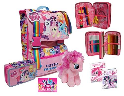 Zaino my little pony school pack + astuccio 3 zip + peluche rarity + diario omaggio