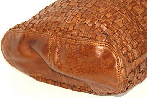 """Bear Design Shopper Bag Borsa Donna con tracolla """"Tess"""" intrecciato, in pelle lavata Cognac"""