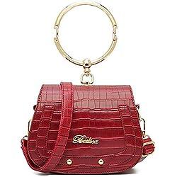 DIMAOL Femmes Sacs PU Boutons Polyester fourre-tout fermeture à glissière pour Casual All Season Blushing Rose Rouge Noir Vert, Rouge