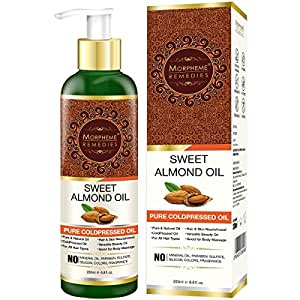 Morpheme Remedies Pure Cold Pressed Sweet Almond Oil for Hair and Skin, 200ml