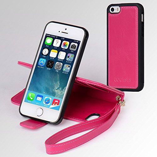 """Coque iPhone 5s, iPhone 5 Housse à Rabat en PU Cuir, COCASES Étui Portefeuille avec Lanière 3 Fentes pour Cartes et 1 Porte Monnaie Bumper Case Détachable pour iPhone SE (4""""/Rose or) Rose Rouge"""