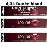 3x Loreal Majirel 6,34 Dunkelblond Gold Kupfer Creme Haarfarbe - 50ml