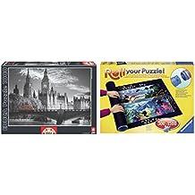 Pack Puzzle Educa 15180. Autobus Londinense. 1000 piezas + Tapete universal Puzzle Roll 1500 piezas