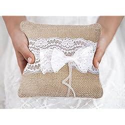Cojín para Alianzas de boda con lazo en blanco
