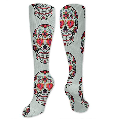 Xdevrbk Sugar Skull Mexico Mexican Unisex Knee High Long Socks (Männlich Sugar Skulls)