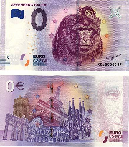 0 Euro Schein  Affenberg Salem 2018 Null Euro Souvenir mit verschiedenen Sehenswürdigkeiten