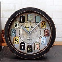 DIDADI Alarm clock Despertador retro Continental tan antigua aldea americana madera alarma pequeña 3DSummer soporte de escritorio al sentarse mute relojes