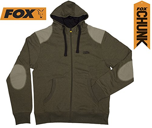 Fox Chunk Zipped Hoody Khaki, Angelpullover, Kapuzenpullover, Anglerpullover, Angelpulli, Pullover zum Angeln mit Reißverschluss, Größe:L