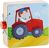 HABA 303773 - Holz-Babybuch Traktor   Stabiles Holzbuch ab 10 Monaten   Leicht zu greifende Seiten aus Holz mit bunten Bauernhofmotiven