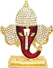 Saubhagya Global Vinayaka Hindu Religious God Ganesh Gold Plated Idol/Murti/Statue Decorative Showpiece Gift Item for Car Dashboard/Puja/Mandir Pooja/Temple/Home Decor/Office Showpiece