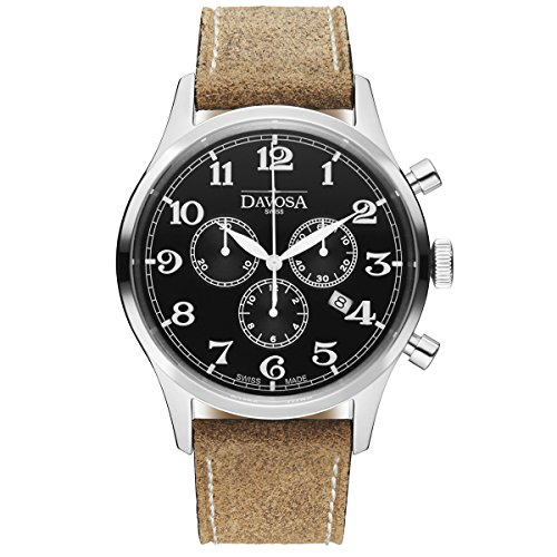 Davosa Swiss Heritage chronographe 16247956Homme Montre-bracelet en cuir véritable, Noir