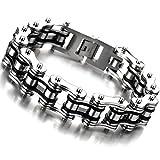 H+C Armband, aus Edelstahl, Fahrradkette, Motorradkette, für Herren, Farbe: Silber/schwarz