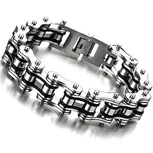 COOLSTEELANDBEYOND Herren-Armband Top-Qualität Edelstahl Fahrradkette Motorradkette Silber Schwarz Zwei Töne Hochglanz Poliert