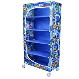 """Little One's 5 Fabric Shelves Folding Wardrobe - Jungle Blue. Powder Coated Strong And Sturdy Steel Structure (USP), Dimensions: 22"""" X 12"""" X 45"""""""