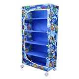 Little One's 5 Fabric Shelves Folding Wardrobe - Jungle Blue. Powder Coated Strong And Sturdy Steel Structure (USP), Dimensions: 22
