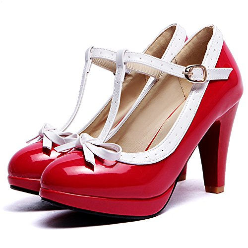 COOLCEPT Damen T-Spange Pumps Hohe Ferse Schuhe Extra Sizes 16 Colors Red
