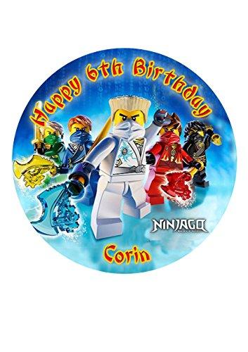 Ninjago Personalisierte Kuchen Topper Puderzucker Papier 19,1cm Ninja Jay Blau image23