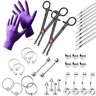 37-teiliges Profi-Piercing–Lippe, Brust, Bauch, Augenbrauen-, Zunge, Ohr Piercing Schmuck–Nadeln, Handschuhe und Werkzeuge im lieferumfang enthalten