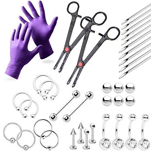 37-teiliges Profi-Piercing-Lippe, Brust, Bauch, Augenbrauen-, Zunge, Ohr Piercing Schmuck-Nadeln, Handschuhe und Werkzeuge im lieferumfang enthalten