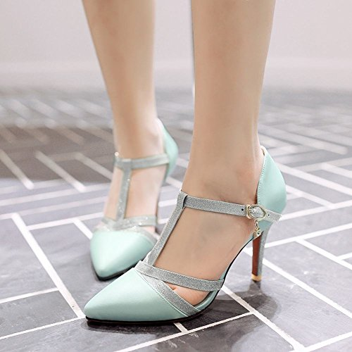Mee Shoes Damen high heels T-Strap Schnalle Pumps Blau