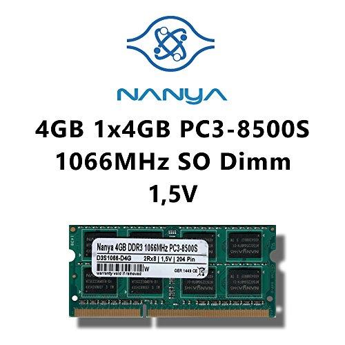 1066 Mhz Laptop Arbeitsspeicher (Nanya 4GB (1x 4GB) DDR3 1066MHz (PC3 8500S) SO Dimm Notebook Laptop Arbeitsspeicher RAM Memory)