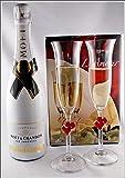 Champagner Moet & Chandon Ice Imperial limitiert (12 %VOL.-0,75 Liter) mit 2 Stölzle Champagner Gläser L´Amour im Geschenk Karton, kostenloser Versand