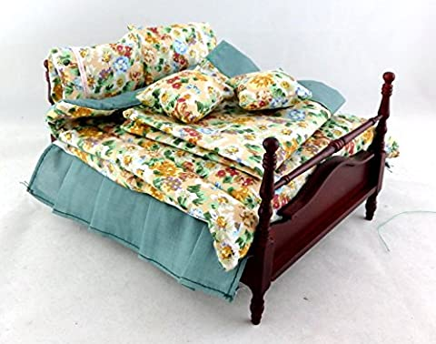 Dolls House Miniature Bedroom Furniture Mahogany 4 Poster Double Bed