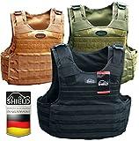 SHIELD Plate Carrier, Plattenträger Weste, ballistische Schutzweste SK1 bis SK4 wählbar (SCHWARZ, Ohne)