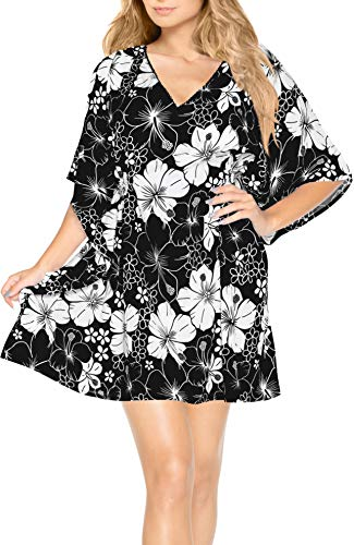 LA LEELA super weich Likre Frauen mit V-Ausschnitt Kimono Badebekleidung Caribbean hawaiische Hibiskus-Batik beiläufig Plus Größe 4 in 1 Strand-Bikini-Vertuschung Basic Kleid Kaftan schwarz - Palazzo 4 Licht