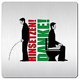 XXL WC Toiletten Schild - Türschild - Bitte im Sitzen pinkeln - Nicht im Stehen pinkeln - Pinkeln verboten - Hinweisschild aus 1,5mm starkem Aluminium mit veredelter Oberfläche  kontrastreicherer Look als bei herkömmlichen Edelstahlschilder  125 x 125mm  pflegeleicht & langlebig  schneller Versand aus Köln!