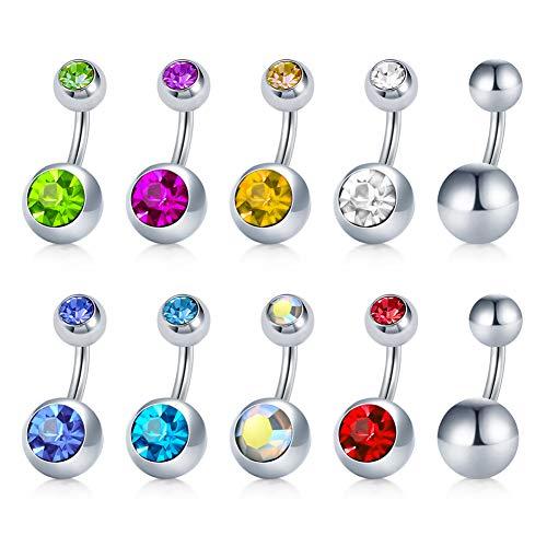 Jforyou 10 pezzi piercing ombelico in acciaio inox anelli a bottone pancia anelli curvato ombelico barretta piercing del corpo gioielli per donne, 14g 6mm