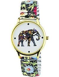 BELLOS -Damen Armbanduhr weiß Gold Elefanten Quarz Gehäuse Stahl Analog Display Typ Armband Stahl Multicolor
