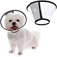 TJW Cono para Mascotas, E-Collar Protectora Cuello,Collarín para Perros,Collar Compatible con Mascotas,Color Blanco con Negro (L: Circunferencia del Cuello 22-24cm)