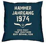 Geschenk zum 44. Geburtstag Hammer Jahrgang 1974 :-: Geburtstags Kissen Größe: 40x40cm Farbe: navy-blau & Geburtstags-Urkunde