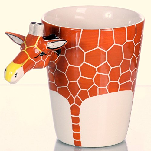 Tassen Set , Elefant , Affe und Giraffe , handgefertigtes und bemaltes 3 er - Keramik SET (Keramik Handgefertigtes Geschirr)