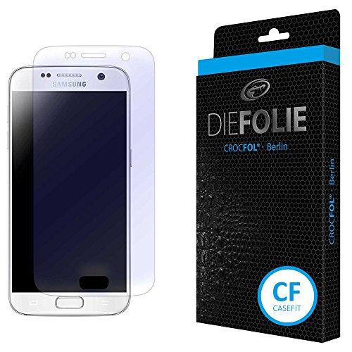 Crocfol Displayschutz für Samsung Galaxy S7: 2x DIEFOLIE Schutzfolie, 1x DASFLÜSSIGGLAS flüssiges Glas - Casefit Folie, Verwendung mit Schutzhülle