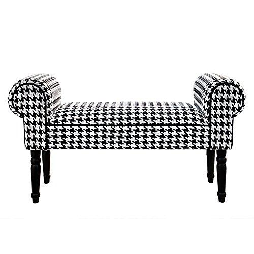 Design delights retro sedere bench audrey | 100,3cm nero bianco, hounds tooth pattern | sedile
