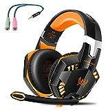G2000 Gaming Headset, Tsing Professionelle Gaming Kopfhörer mit Mikrofon, 3.5mm On Ear Surround Sound Ohrhörer mit Bass-Stereo Lautstärkeregelung für PC Laptop Tablet Mobile Phones Orange