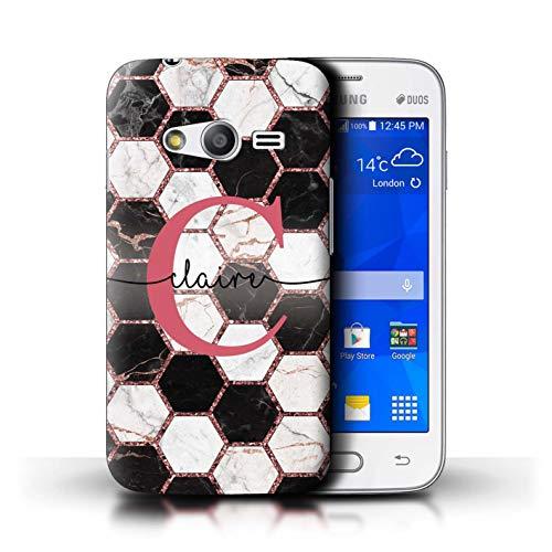 eSwish Personalizzato Scintillio Geometrico Marmo Personalizzare Custodia/Cover per Samsung Galaxy Trend 2 Lite/G318 / Nido Ape Esagonale Rosa Scintillante Design/Iniziale/Nome/Testo Caso/Cassa