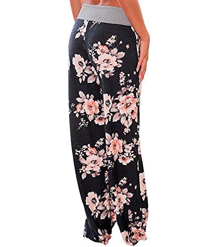 365-Shopping Damen Blumen Sommer Pumphose Haremshose Lange Hose Schwarz