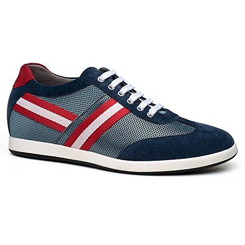 CHAMARIPA Chaussures Rehaussantes Sneakers en Cuir de Hautes Homme - Grandit DE 6 cm-H62305K051D Bleu