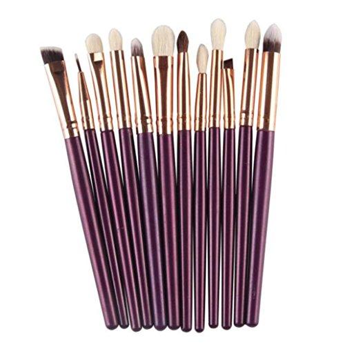 8PCS composent des brosses, Honestyi Brosse cosmétique de Base Sourcil Eyeliner Rougir Concealer (12 pcs, Violet)
