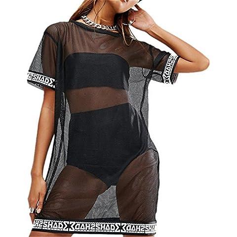 Moda Trasparente Rete Fishnet Net T-Shirt Maglietta Dritto Mini Dress Vestito Abito a tunica Tee Top Superiore Cime Cima Nero