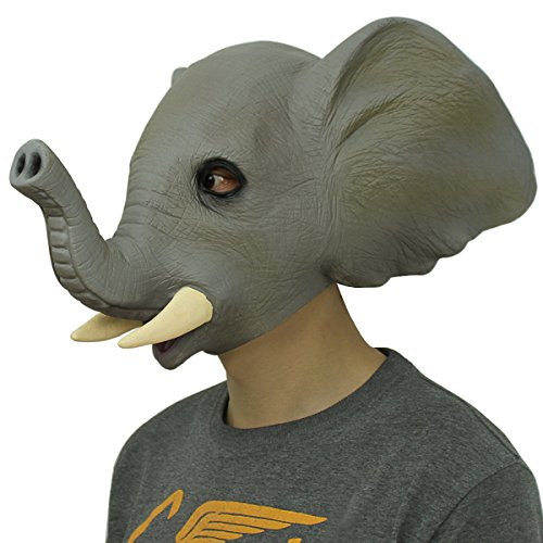 Latex Maske Elefant,Cusfull Deluxe Latex Gummi Vollmaske für Halloween Party Karneval Kostüm-Dekorationen