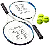 Ransome Sporting Goods - Set de raquetas de tenis para adulto, color negro/blanco/azul, 68 cm