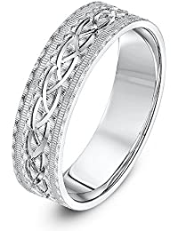 Theia Unisex Sterling Silver Serrated Matt with Center Design 6 mm Wedding Ring