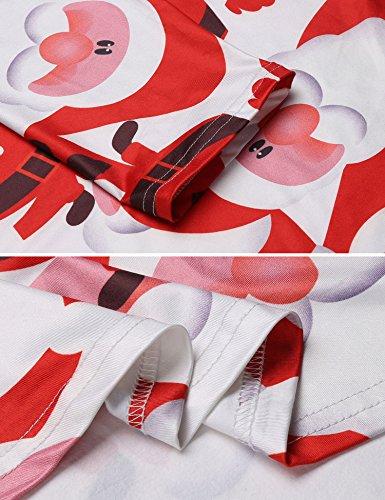 HOTOUCH Damen Midikleid Weihnachten Kleid Weihnachtsgeschenk Skater Swing Kleid Festliches Kleid 3/4 Ärmel A-Linie Kleid Santa Claus-Rot