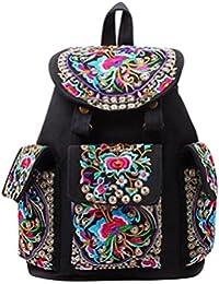 YouPue Frauen Stickerei Tasche Schultasche Vintage Handtasche Rucksack