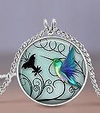 Zeagro Joyas de colibrí Collar de colibrí Azul de 20 mm - Incluye Cadena...